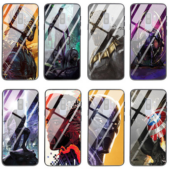 Tempered Glass Phone Cases for Samsung Galaxy A10 A20 A50 A51 A70 A71 A6 A8 A9 2018 Plus Cover Bags Black Panther Marvel Comics image