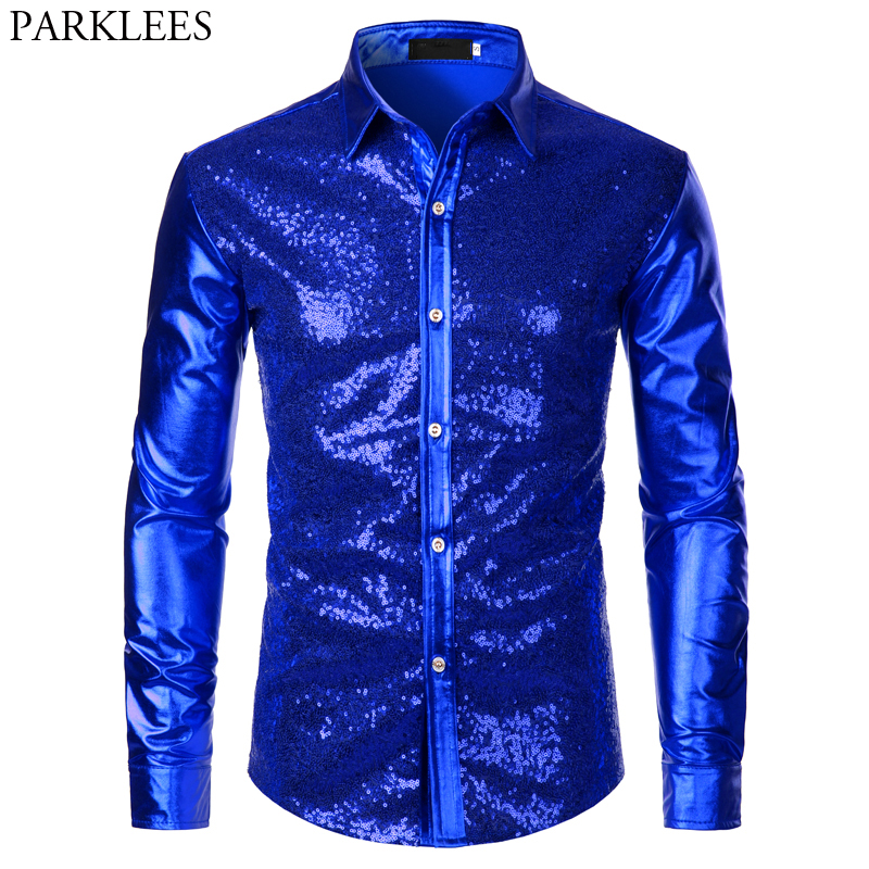 Luxury Royal Blue Sequin Metallic Dress Shirts Men 2019 New Long Sleeve 70's Disco Party Shirt Male Christmas Halloween Costume