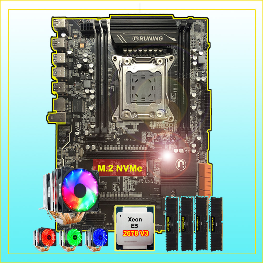 Discount Motherboard With M.2 Slot Runing X99 LGA2011-3 Motherboard With CPU Intel Xeon 2678 V3 Cooler RAM 64G(4*16G) DDR4 2400