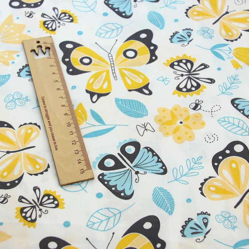 Nadrukowany motyl 100% bawełna tkaniny do produkcji sukienki poduszki koc szycia dziecko dziecko prześcieradło tekstylne