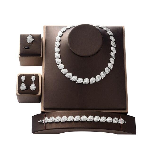 طقم مجوهرات HADIYANA خمر قطرات كريمة ترف المرأة الزفاف طقم مجوهرات الزفاف CN1296 بارور بيجو فام Mariage
