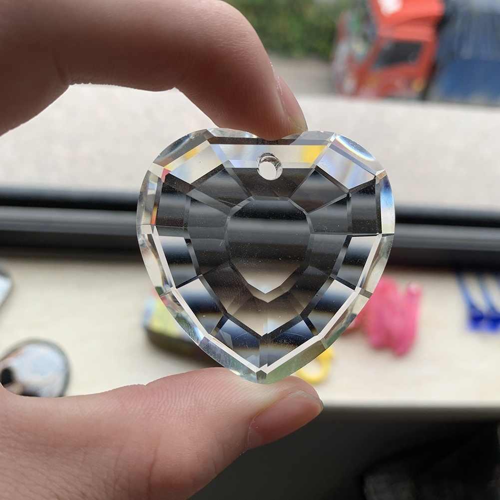 45mm Love Heart Faceted kryształowy żyrandol ze szkła pryzmat lampa część uroku wisiorek 1.8in Suncatcher wiszące DIY