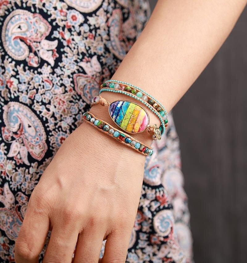 New Chakra Bracelets Multilayers Women Leather Wrap Bracelets W/ Jaspers Beaded 3X Cuff Bracelet Boho Jewelry Dropshipping