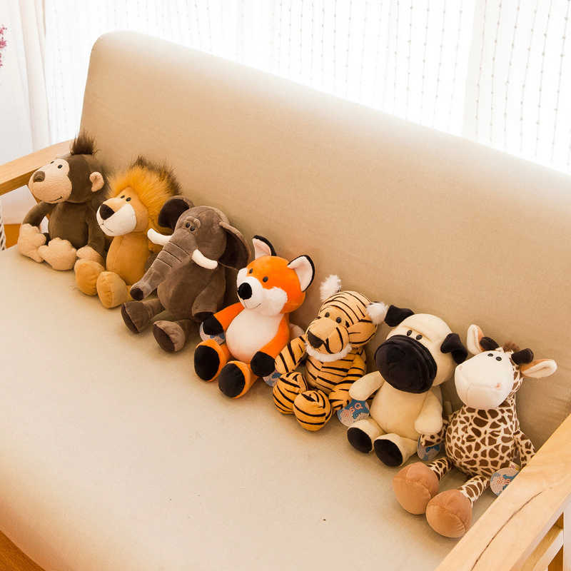 25cm sevimli doldurulmuş hayvanlar peluş oyuncak rakun fil zürafa tilki aslan kaplan maymun köpek peluş hayvan oyuncak çocuk yumuşak oyuncaklar