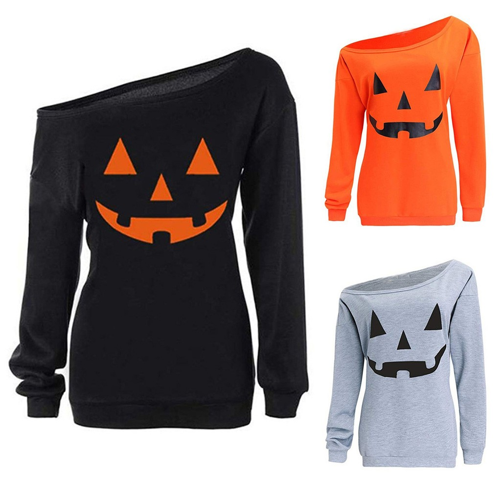 Women Halloween Print Long Sleeve Sweatshirt Pullover Tops Blouse Brand Spring Autumn Casual Sweatshirts Solid Sweatshirt Tops