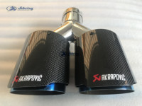 AKRAPOVIC car modified carbon fiber AK tube stainless steel blue double carbon car exhaust pipe tail muffler Car decoration