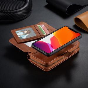 Image 3 - Zamek portfel skórzane etui dla iPhone 11 Pro Max Xr X Xs 8 7 6 6S Plus magnetyczny odpinany torebka etui pokrywa w/11 posiadacz karty