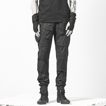 Dark Black Overalls Personality Men's Thin Cotton Harem Pants Slim Pants Men Clothing 2020 Ropa De Hombre Hip Hop Streetwear