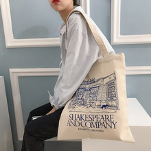 Women Canvas Shoulder Bag Shakespeare Print Ladies Shopping Bags Cotton Cloth Fabric Grocery Handbags Tote Books Bag For Girls