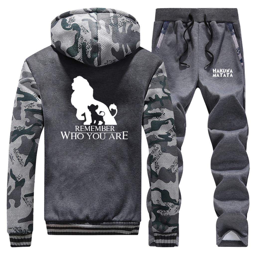 Remember Who You Are Print The Lion King Coat Autumn Winter Thick Hoodies+Sweatpants 2 Piece Sets Camouflage Fleece Men's Jacket