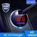 Быстрое металлическое автомобильное зарядное устройство QC 3,0 4,0 с двумя USB-портами и светодиодным дисплеем для iPhone, Xiaomi, Samsung, Huawei, Oneplus, быстра...