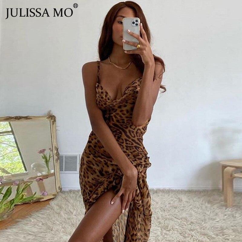 Julissa Mo Leopard Print V Neck Sexy Bodycon Long Dress Women Lace...