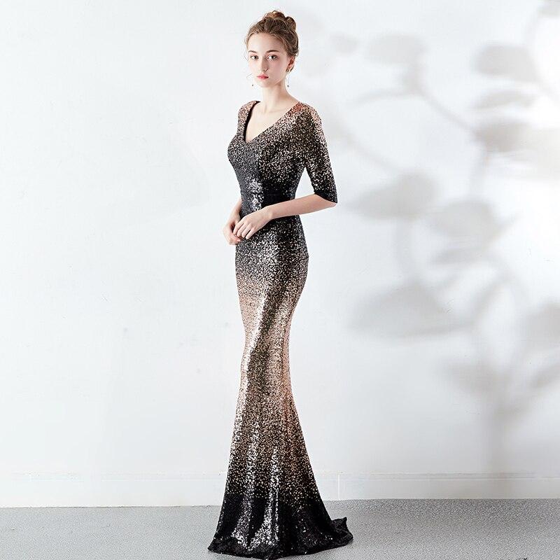 Half Sleeve Women Evening Dresses Long