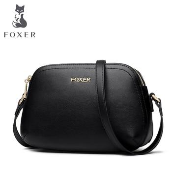 Marca FOXER, bolso bandolera de cuero dividido, bolsos de mensajero pequeños de moda para mujeres, bandoleras suaves, bolsos suaves para mujeres