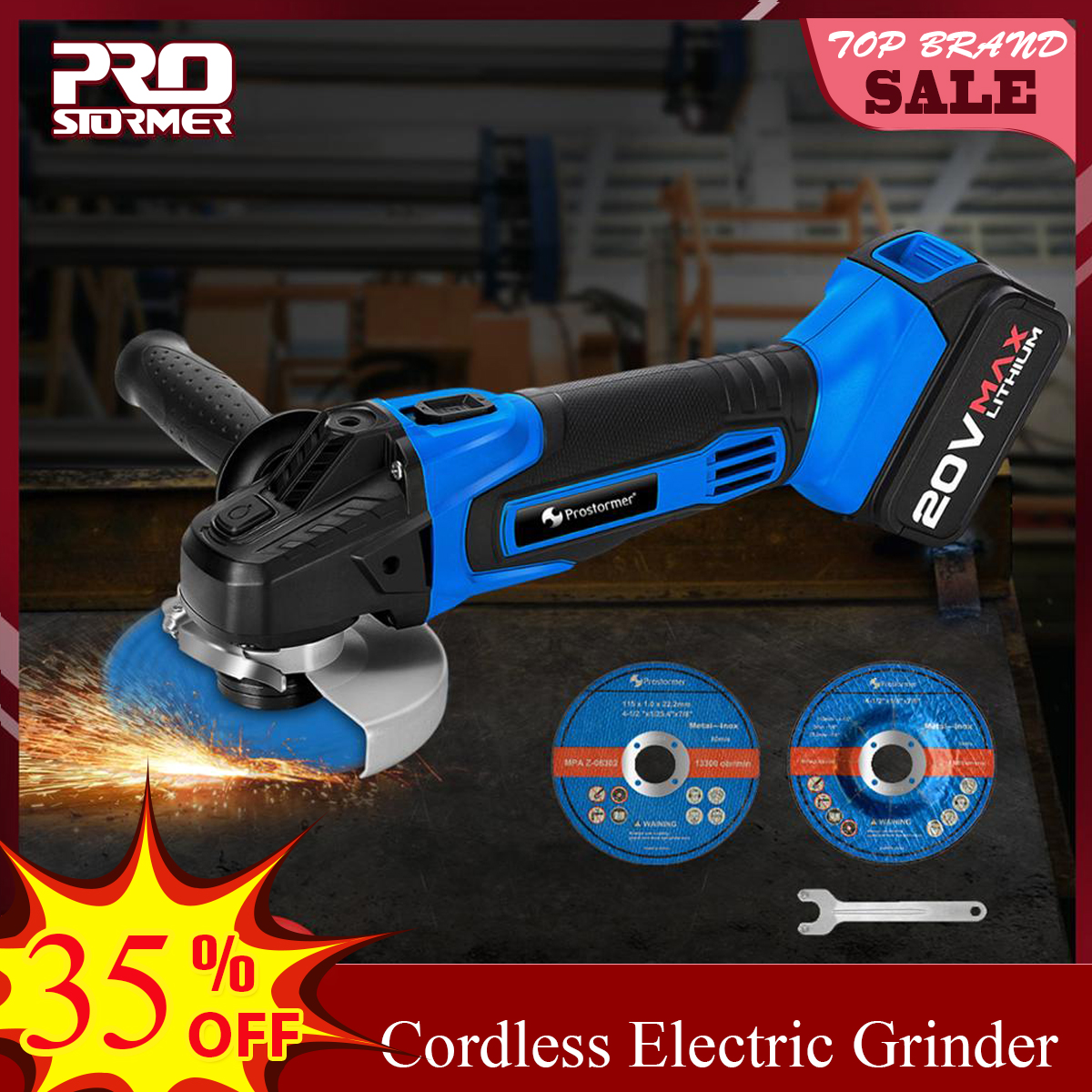 PROSTORMER 20V 4000mAh Cordless  Angle Grinder Grinding Machine Grinding Electric Lithium-Ion Rechargeable Grinder Power Tools