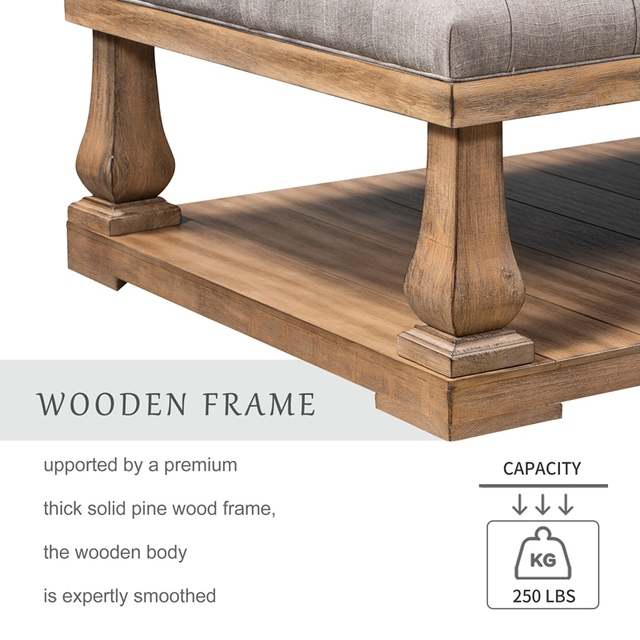 Upholstered Storage Bench With Wood Shelf 5