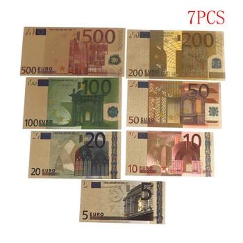7pcs High Quality 24K Gold Plated Euros Fake Money Commemorative Notes Collection Souvenir Antique Decoration 5-500 Dollar