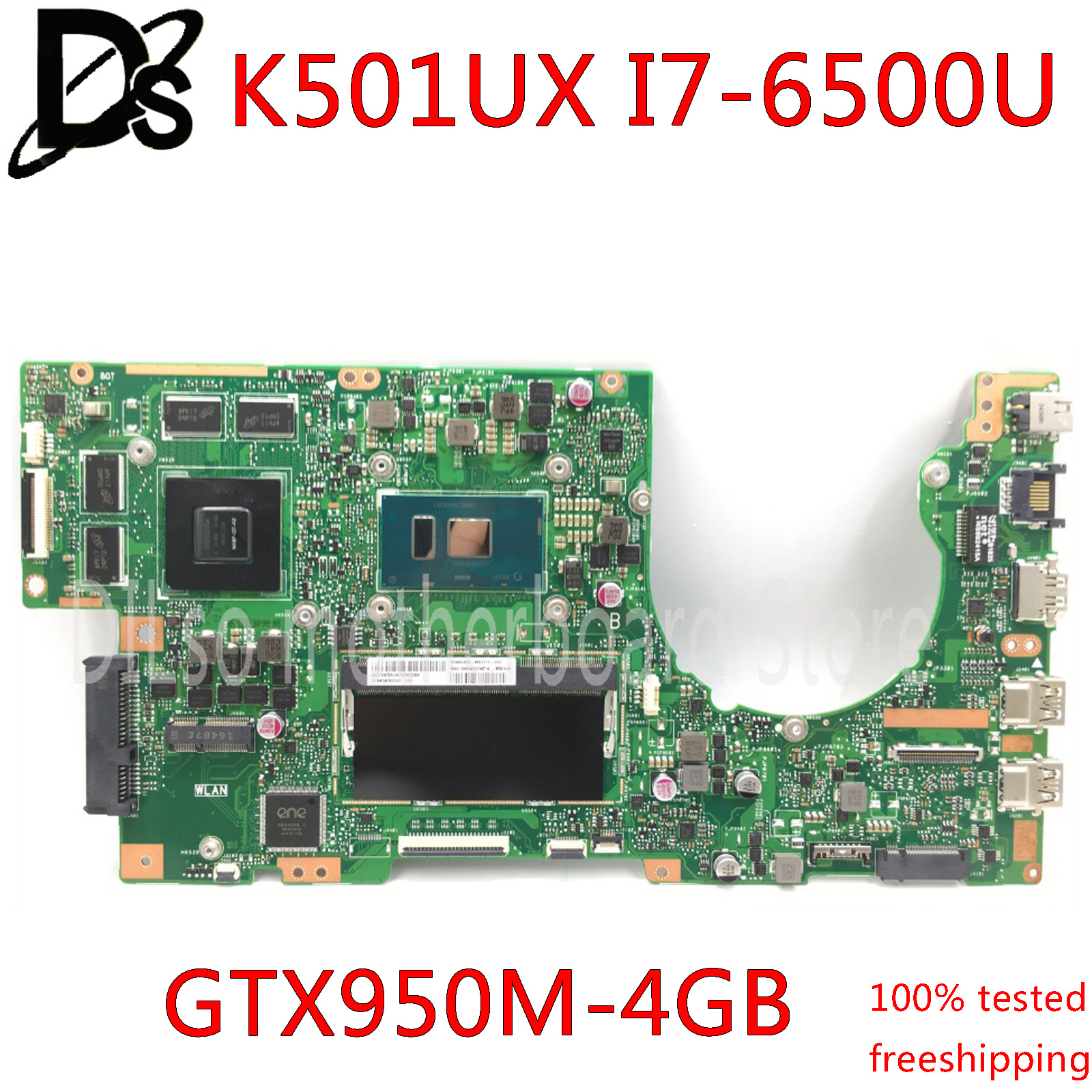 KEFU K501UX For ASUS K501UX K501UB K501U Laptop Motherboard K501UX Mainboard Rev2.0 I7-6500U Cpu GTX 950M 4GB RAM Tested 100%