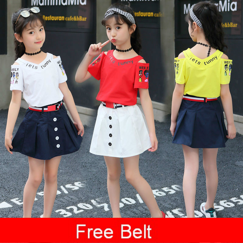 12 Girls Suit <font><b>11</b></font> Summer Fashion Clothing 10 Girls Skirt Set 9 Children's Wear 8 Hole Short T shirt TWO-Piece 4 3 7 13 <font><b>Years</b></font> <font><b>Old</b></font> image