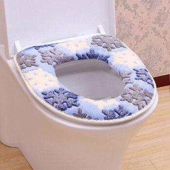 Patrón de copo de nieve calentador de baño Closestool almohadilla retrete lavable funda de asiento Mat