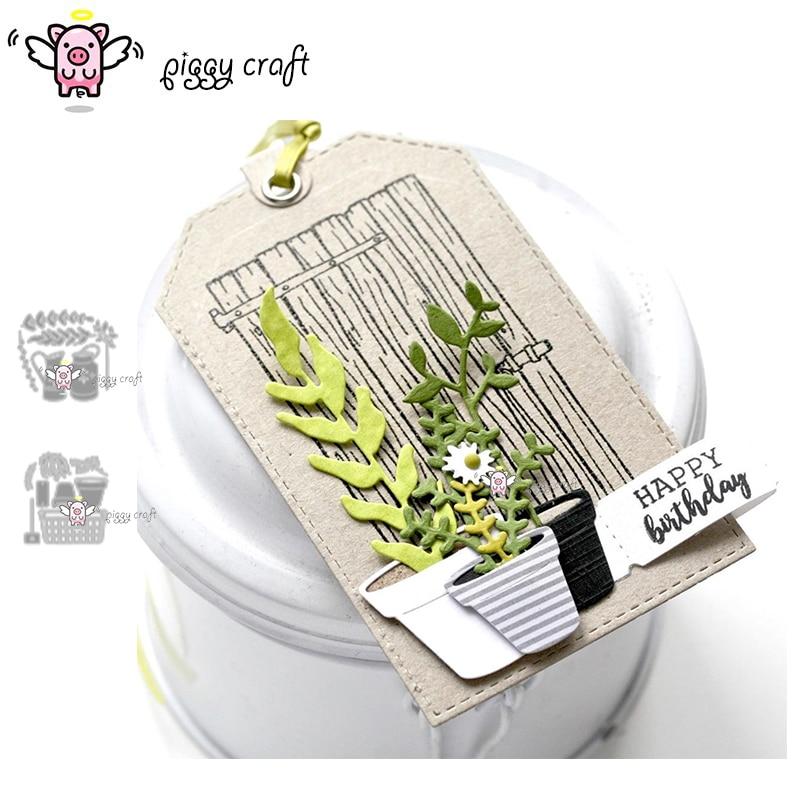 Piggy Craft metal cutting dies cut die mold Flower leaf pot basket Scrapbook paper craft knife mould blade punch stencils dies-in Cutting Dies from Home & Garden