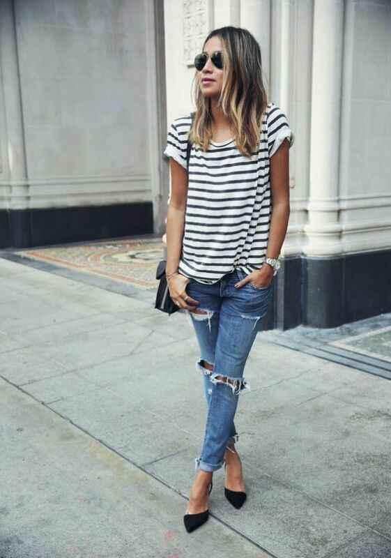 Baru Fashion Wanita Musim Panas Hitam Putih Lengan Panjang Kemeja Kasual Leher O Garis Wanita Longgar Tee Top ukuran S-XL