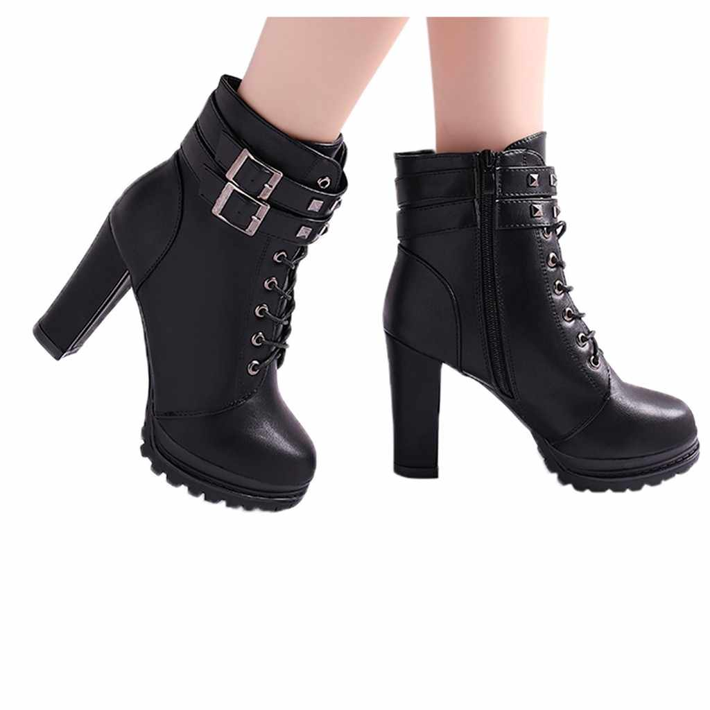Seksi kırmızı deri kısa patik moda kadın perçinler kare topuklu fermuar katı renk çizmeler yuvarlak ayak ayakkabı avrupa bayan ayakkabıları