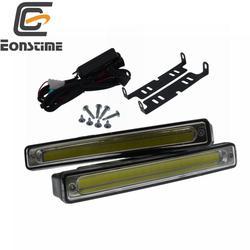 Eonstime 2 قطعة 16 سنتيمتر فائقة مشرق 8 واط COB مقاوم للماء النهار تشغيل أضواء 6500 كيلو سيارة DRL مصباح الضباب 12 فولت/24 فولت قبالة ضوء سائق الحالي