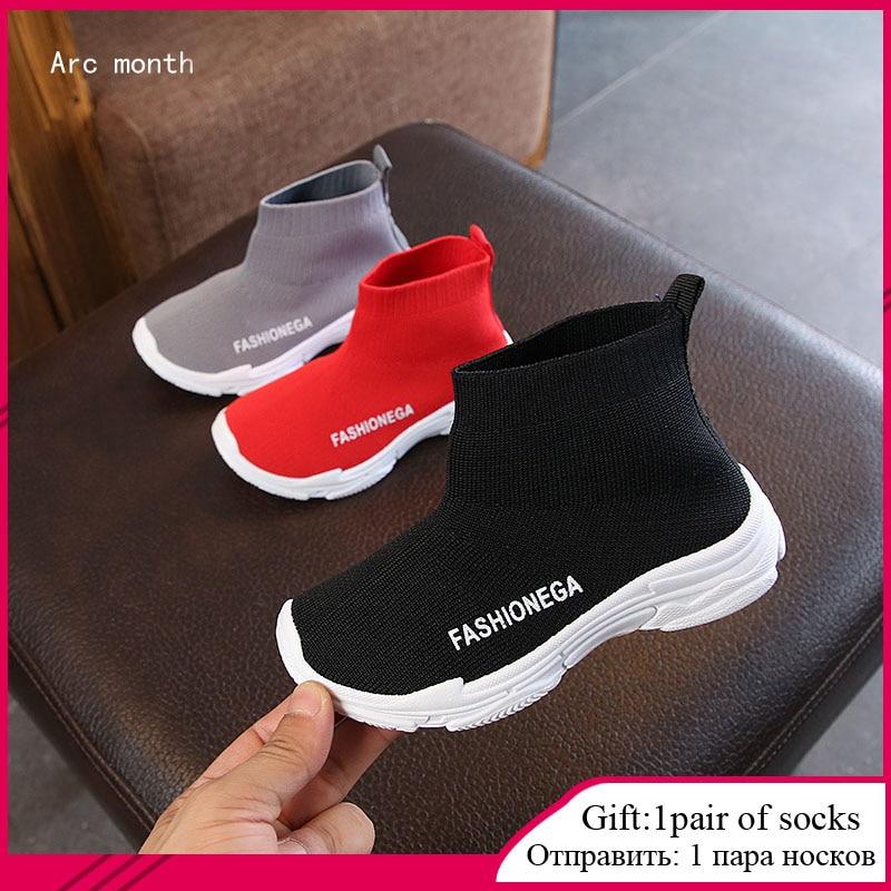 Siyah çocuk çorap Sneakers kız bebek Sneakers bahar moda uçan örgü yürümeye başlayan çocuk ayakkabı çocuklar rahat ayakkabılar çocuk ayakkabıları R
