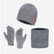 Gloves-Set Scarf Hat Beanie Winter Knit Warmer 3pcs Skull-Cap Touch-Screen Plush-Lined
