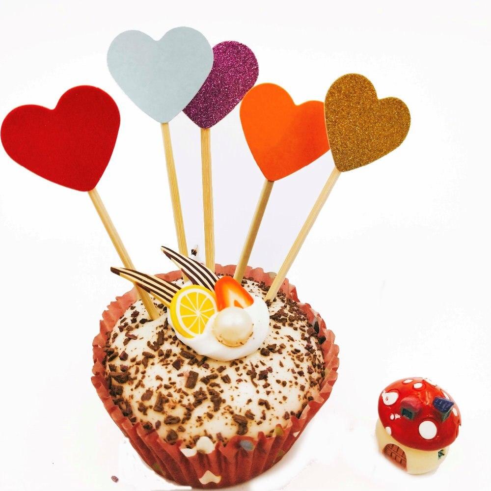 10pcs love heart cake cupcake topper wedding birthday party food sticks  R