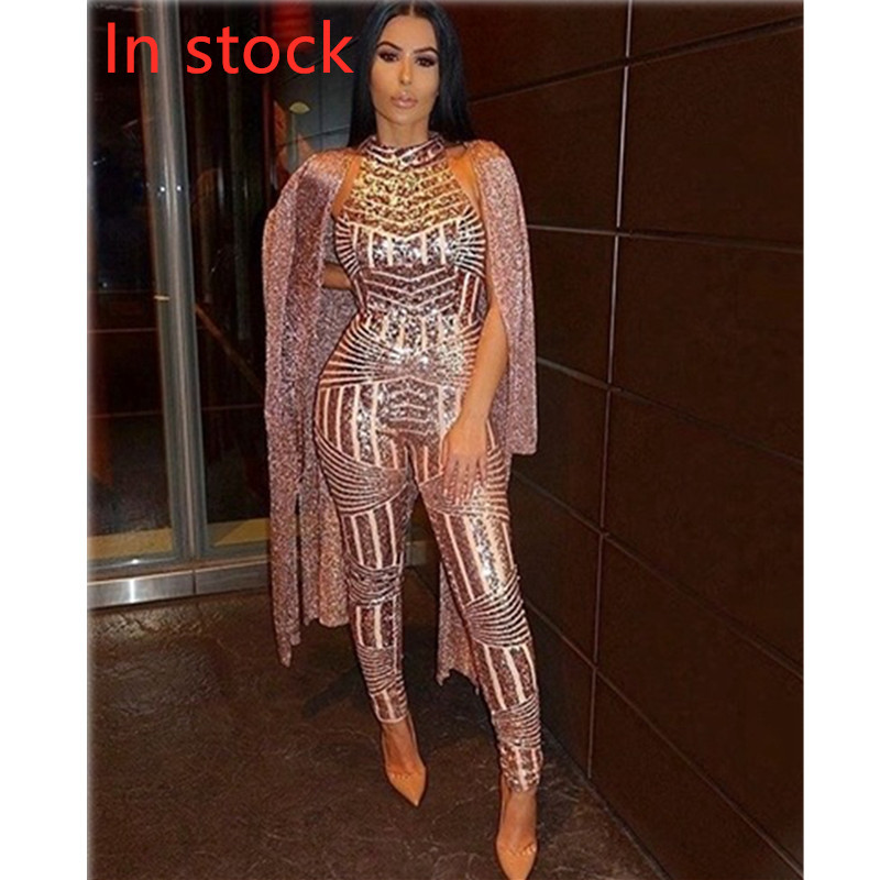 Sexy Gold Sequin Jumpsuit Mesh Romper Summer Women Glitter Halter Open Back Party Bodycon Jumpsuit Body Ladies Overalls Clubwear