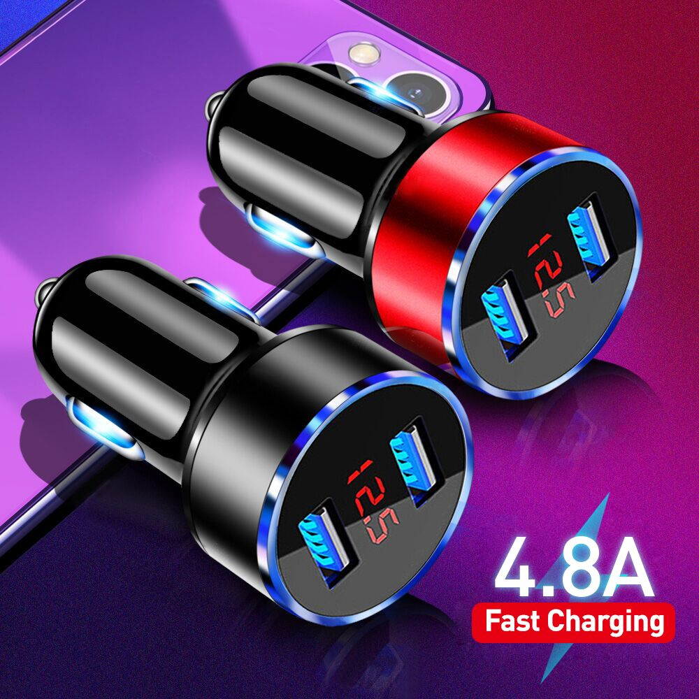 4.8a carregador de telefone usb display led carro-carregador para xiaomi samsung adaptador de telefone móvel carregador de carro para iphone 12 11 pro 7 8 plus