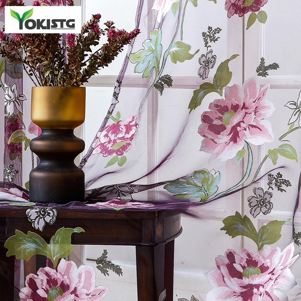YokiSTG Flowers Tulle For Kitchen Living Room Bedroom Sheer Curtains Home Decoration Window Treatments Voile Panel Drapes