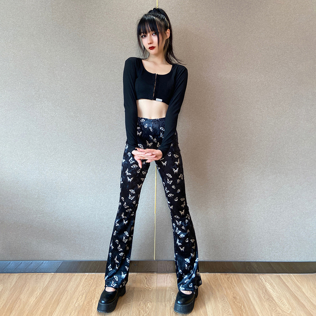 Vintage goth pants with butterfly patterns