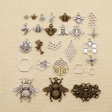 1 Piece Charms Bee Tibetan Silver Plated Pendants Antique Jewelry Making DIY Handmade Crafthj043(China)