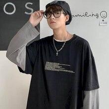 Algodão outono falso de duas peças camisa masculina de mangas compridas estudantes do sexo masculino estilo coreano solto roupas na moda ins juventude roupas masculinas