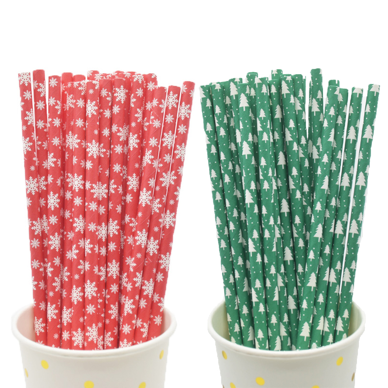 Christmas gold straws silver paper Biodegradable stars stripes Party New Years