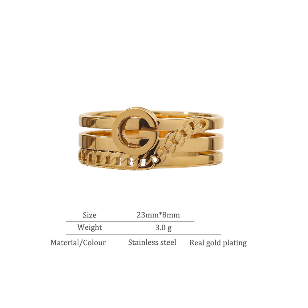Yhpup Trendy Letter G Ring Women 316L Stainless Steel Metal Jewelr Trendy Gold Color 18 K Statement Finger Ring Anillos Mujer 5