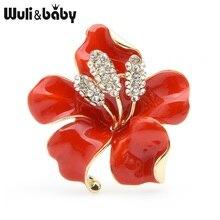 Wuli&baby Big Enamel Red Blue Flower Brooches Women Alloy Rhinestone Wedding Banquet Brooch Pins Gifts