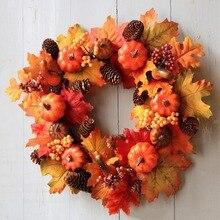 Garland Door-Decor Sunflower Autumn Pumpkin Wreath Party-Supplies 40cm Artificial Halloween