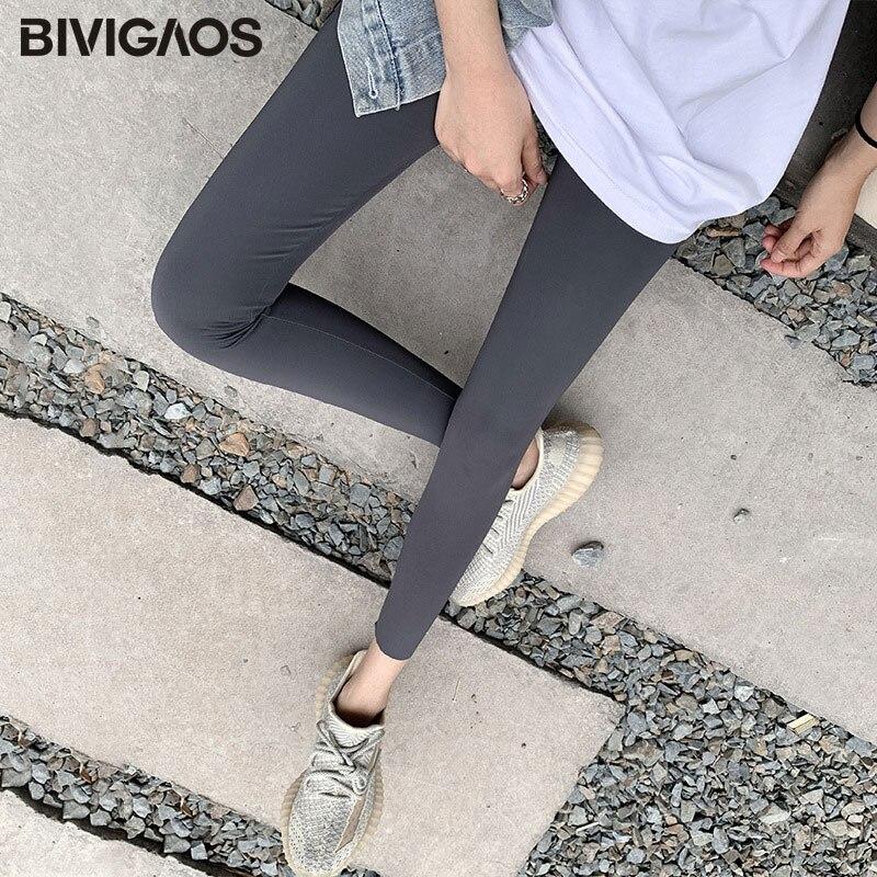 BIVIGAOS New 3-Color Sharkskin Leggings Women Spring Summer Thin Skinny Legs Fitness Leggings Pressure Elastic Sport Leggings 7