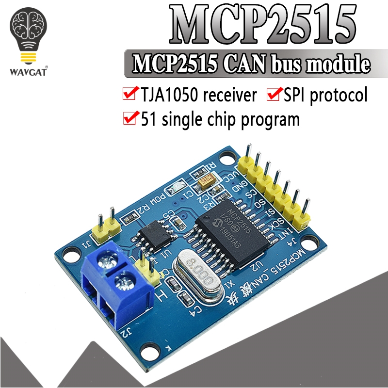 WAVGAT MCP2515 CAN Bus Module Board TJA1050 Receiver SPI For 51 MCU ARM Controller NEW image