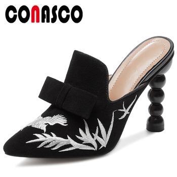 CONASCO Summer New Kid Suede Women Sandals Slippers Mules Pumps Fashion Casual Embroider Butterfly Knot High Heels Shoes Woman