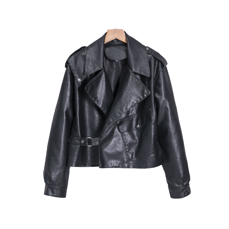2019 Women Autumn Winter PU   Leather   Jackets Oversize Turn-down Collar Pocket Biker Jacket