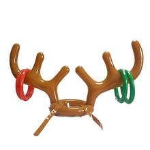 Надувной Санта Забавный оленьи рога кольцо для шляпы Toss Рождество праздник партии игры поставки игрушки