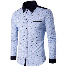 2020 dorywczo mężczyzna koszula z długim rękawem luźny krój koszula męska Plus rozmiar 5XL strój na lato koszule dla mężczyzn marki Patchwork odzieży A437 tanie tanio COTTON Poliester Tuxedo koszule Pełna Skręcić w dół kołnierz Pojedyncze piersi REGULAR Suknem Na co dzień Drukuj