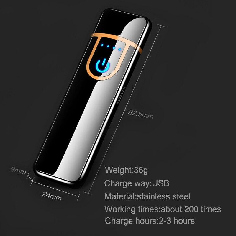 Двусторонняя USB Зажигалка Ветрозащитная Электронная зажигалка для зарядки сигар сенсорные индукционные электронные зажигалки на заказ Пл...
