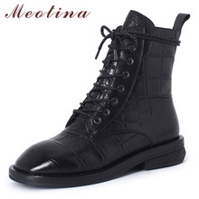 Meotina Winter Ankle Boots Women Natural Genuine Leather Chunky Heel Short Boots Sheepskin Round Toe Shoes Female Autumn Size 40(China)