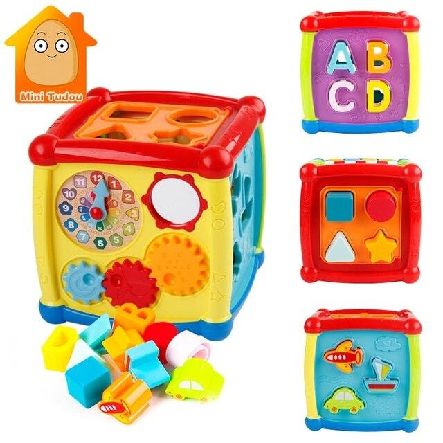 متعددة الوظائف الموسيقية لعب طفل رضيع صندوق الموسيقى الإلكترونية اللعب والعتاد على مدار الساعة كتل هندسية فرز ألعاب تعليمية